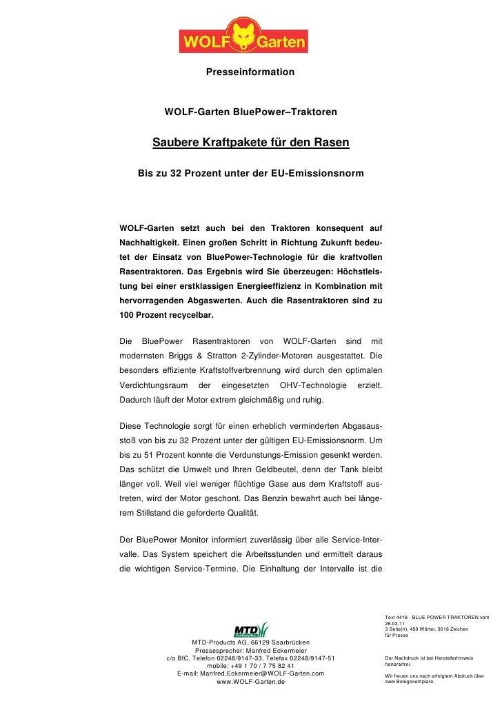 Presseinformation            WOLF-Garten BluePower–Traktoren         Saubere Kraftpakete für den Rasen      Bis zu 32 Proz...