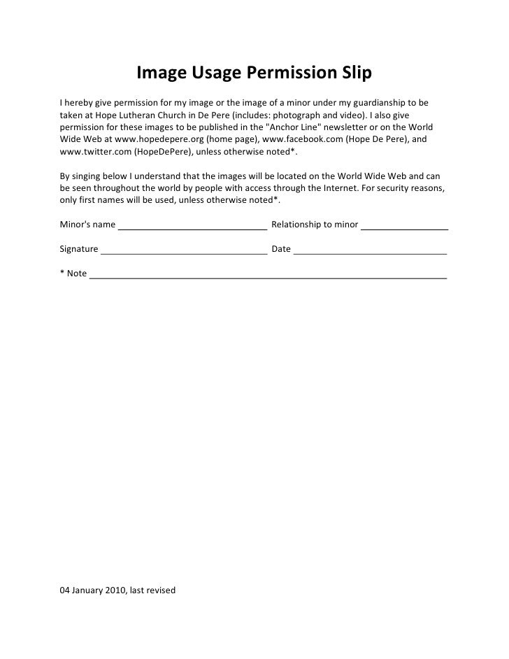 Image usage permission slip full sheet for Photography permission form template