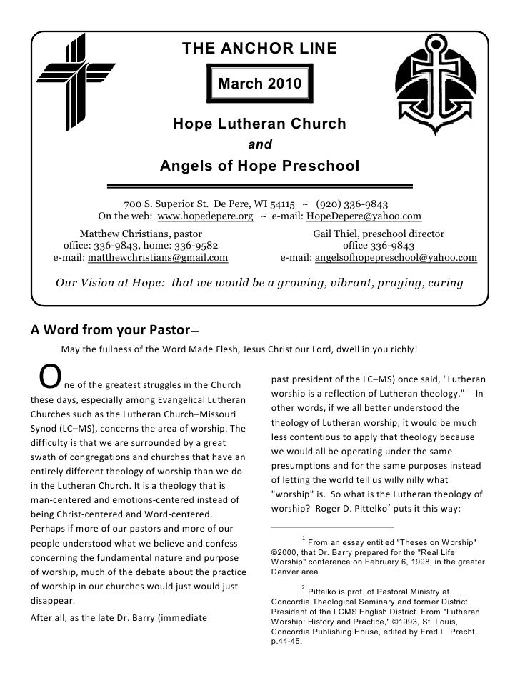 THE ANCHOR LINE                                                March 2010                                    Hope Lutheran...