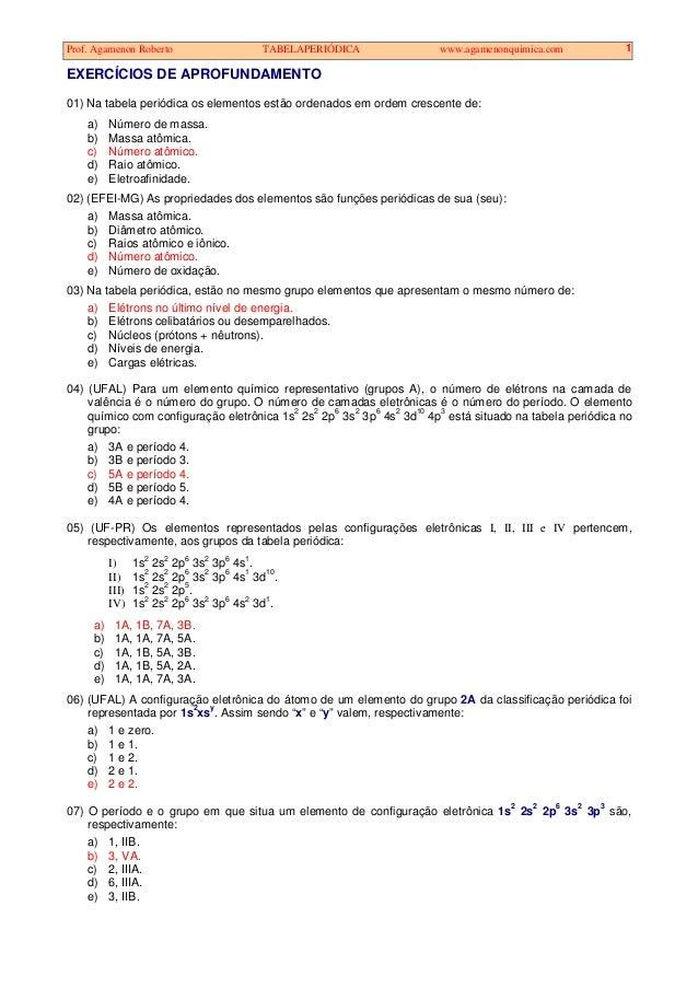 Prof. Agamenon Roberto TABELAPERIÓDICA www.agamenonquimica.com 1 EXERCÍCIOS DE APROFUNDAMENTO 01) Na tabela periódica os e...