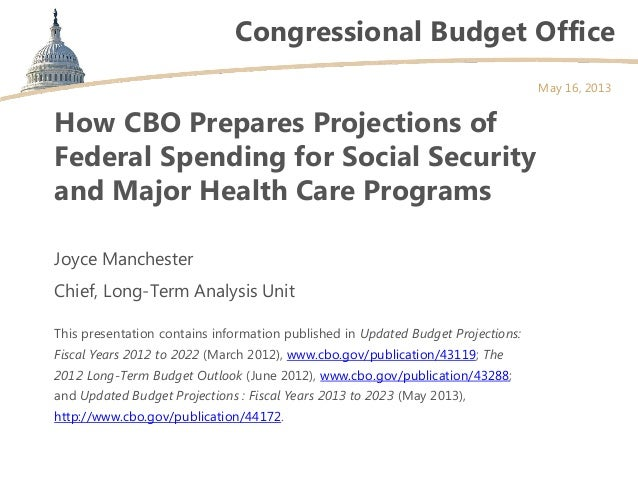 Congressional Budget OfficeHow CBO Prepares Projections ofFederal Spending for Social Securityand Major Health Care Progra...