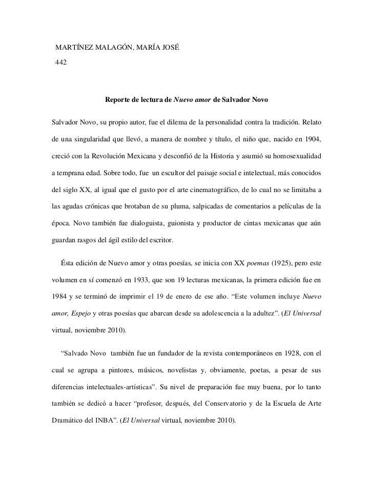 MARTÍNEZ MALAGÓN, MARÍA JOSÉ 442                   Reporte de lectura de Nuevo amor de Salvador NovoSalvador Novo, su prop...