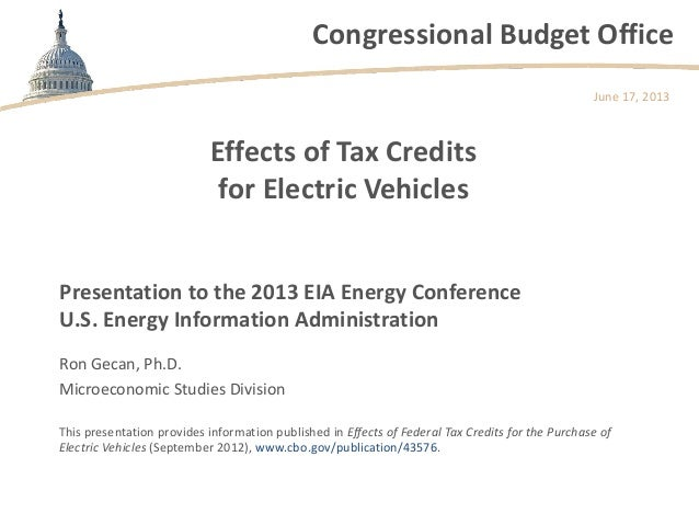 Congressional Budget OfficeEffects of Tax Creditsfor Electric VehiclesRon Gecan, Ph.D.Microeconomic Studies DivisionJune 1...
