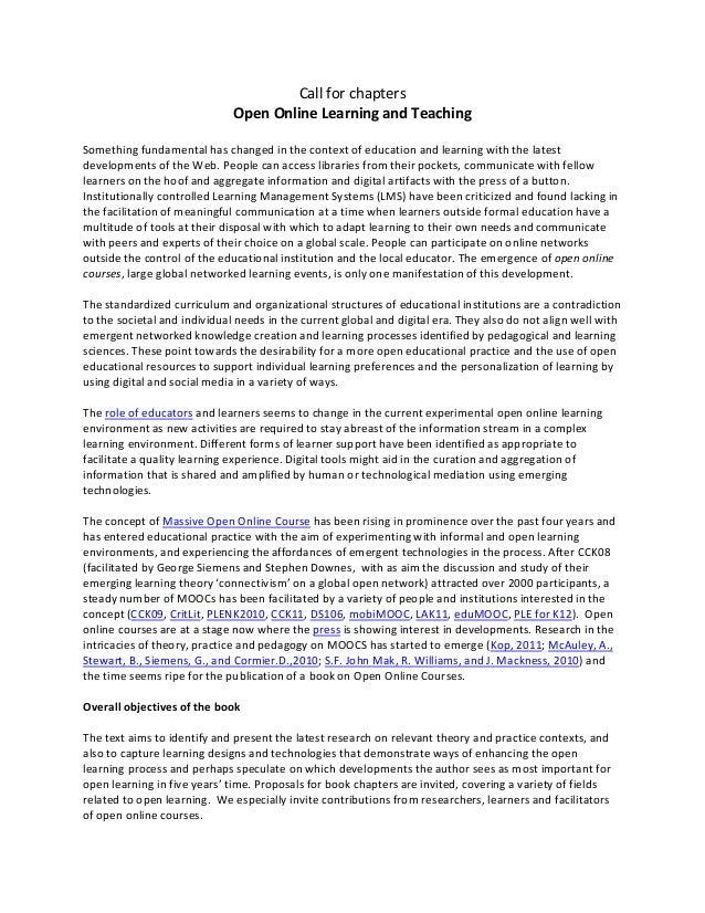 Callforchapters OpenOnlineLearningandTeaching  Somethingfundamentalhaschangedinthecontextofeducationand...