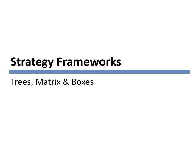 Strategy Frameworks Trees, Matrix & Boxes