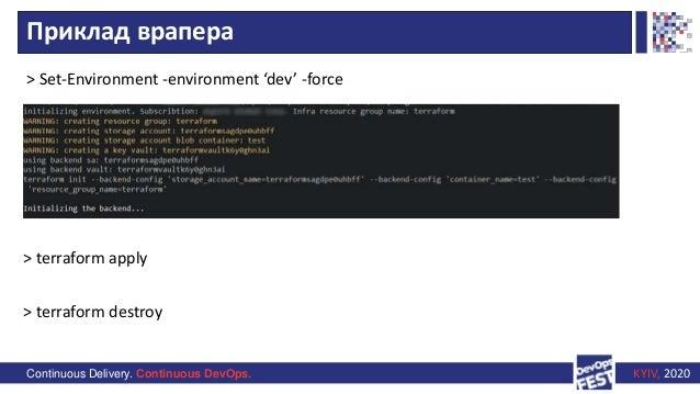 Continuous Delivery. Continuous DevOps. KYIV, 2020 Приклад врапера > Set-Environment -environment 'dev' -force > terraform...