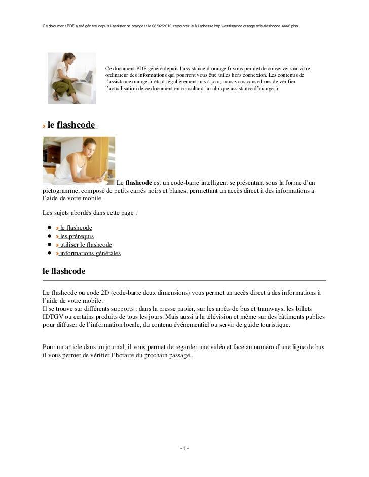 Ce document PDF a été généré depuis l'assistance orange.fr le 08/02/2012, retrouvez le à l'adresse http://assistance.orang...