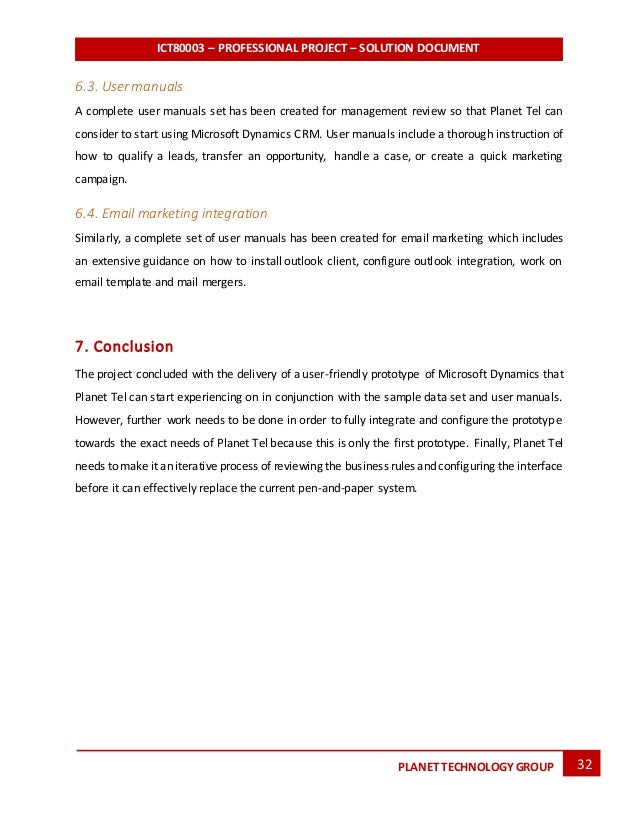 solution report for planet technology