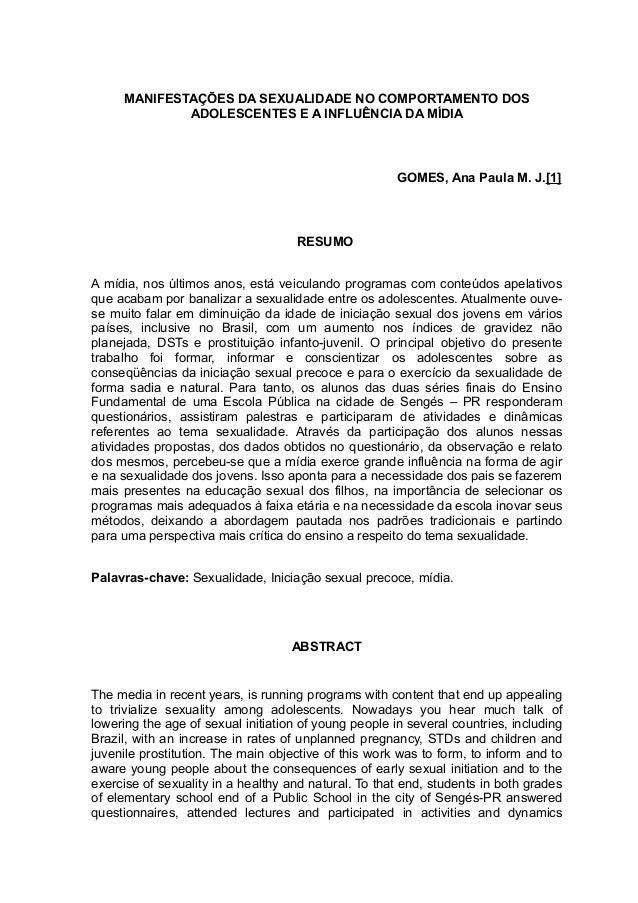 MANIFESTAÇÕES DA SEXUALIDADE NO COMPORTAMENTO DOS             ADOLESCENTES E A INFLUÊNCIA DA MÍDIA                        ...