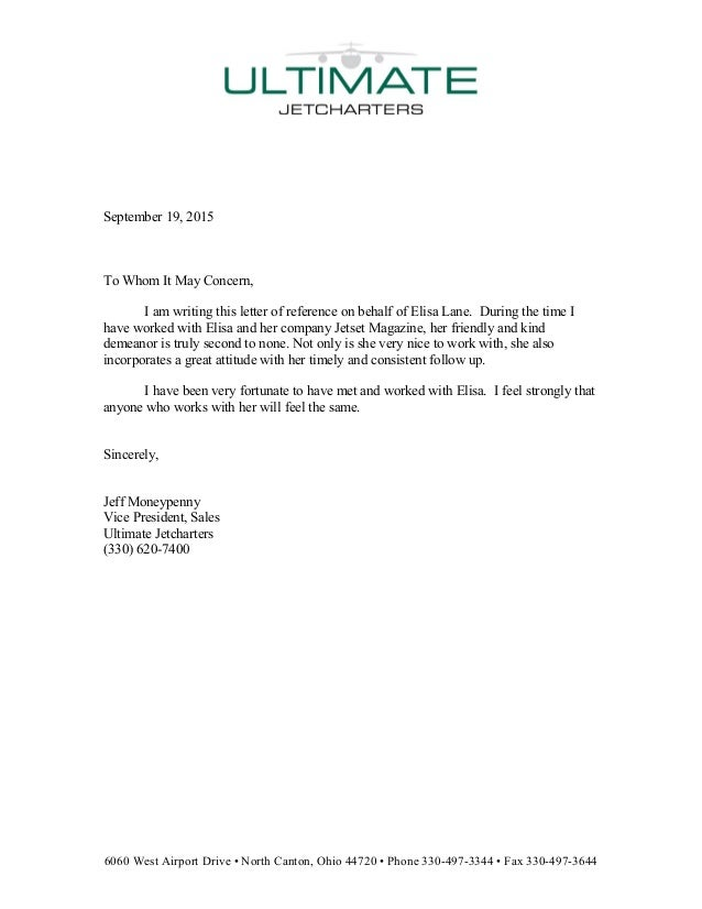 Reference Letter For Elisa Lane