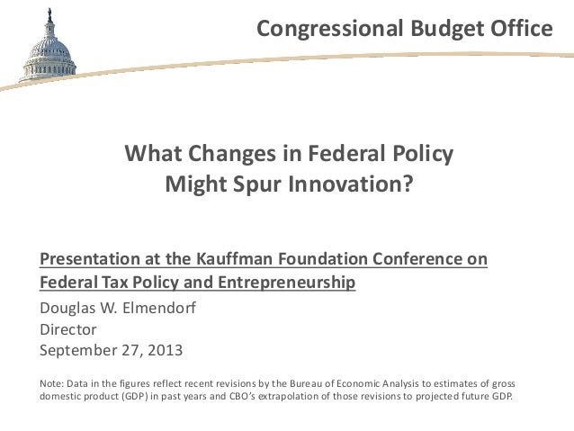 Congressional Budget Office What Changes in Federal Policy Might Spur Innovation? Presentation at the Kauffman Foundation ...