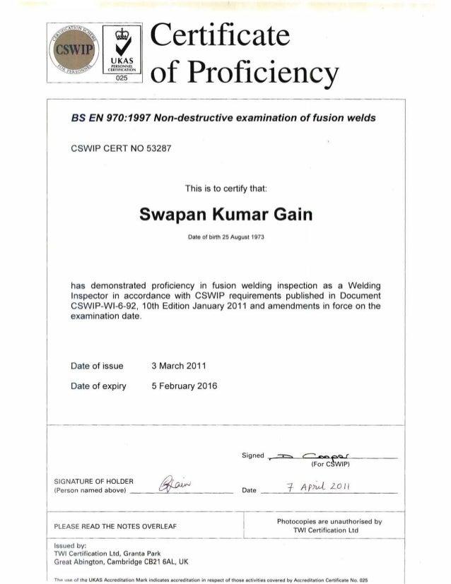 , Certificate  UKAS  PERSONNEL  CERTIFICATION  025 of Proficiency  as EN 970:1997 Non-destructive examination affusion wel...