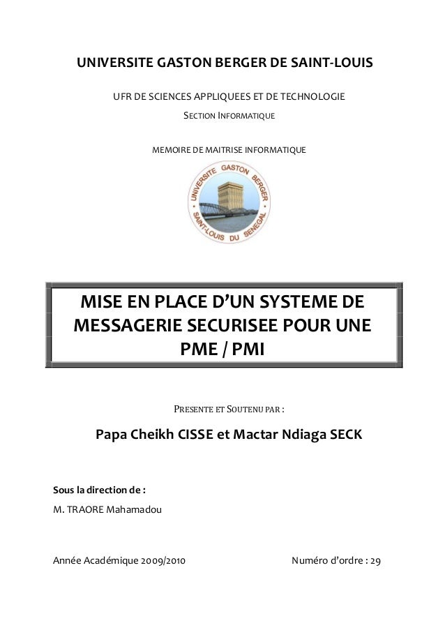 UNIVERSITE GASTON BERGER DE SAINT-LOUIS              UFR DE SCIENCES APPLIQUEES ET DE TECHNOLOGIE                         ...