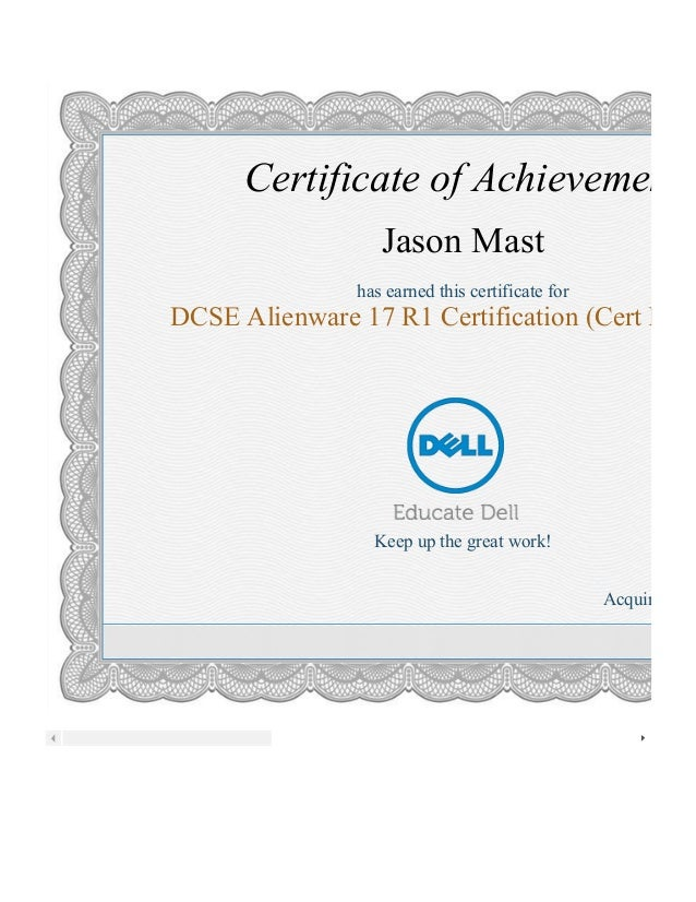 DCSE Alienware 17 R1 Certification 3121