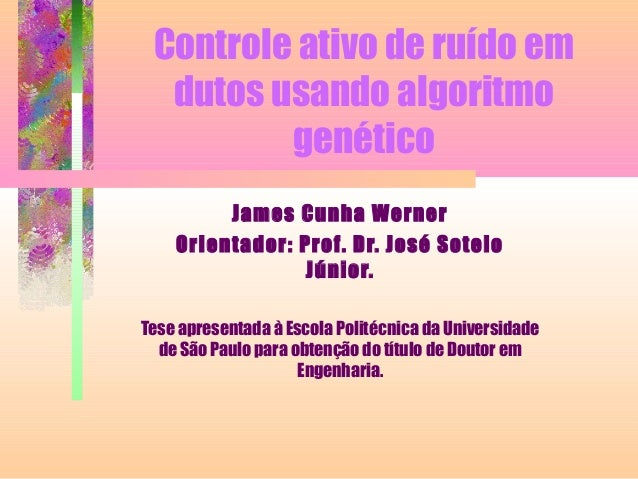 Controle ativo de ruído em dutos usando algoritmo genético James Cunha Werner Orientador: Prof. Dr. José Sotelo Júnior. Te...