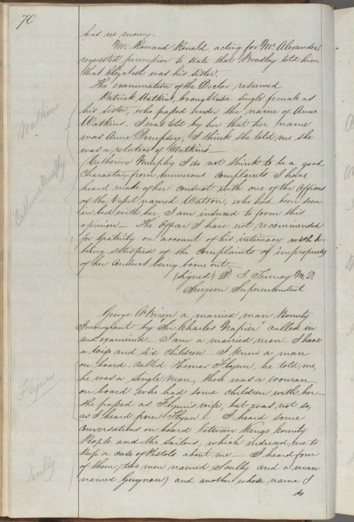 Extract from Evidence of George O'Brien re voyage of 'Sir Charles Napier', 1842. NRS 5257 Reports by Immigration Board on ...
