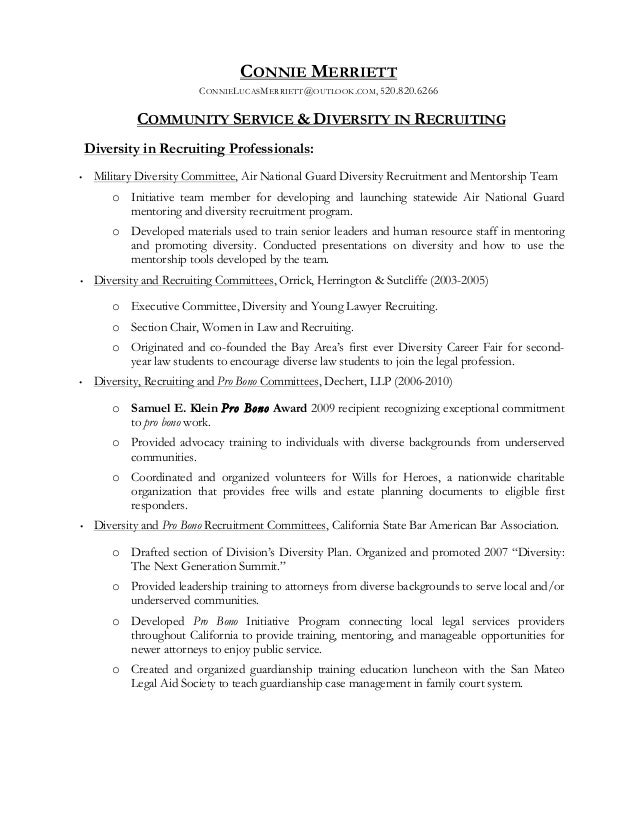 community service and diversity in recruitment addendum to resume o