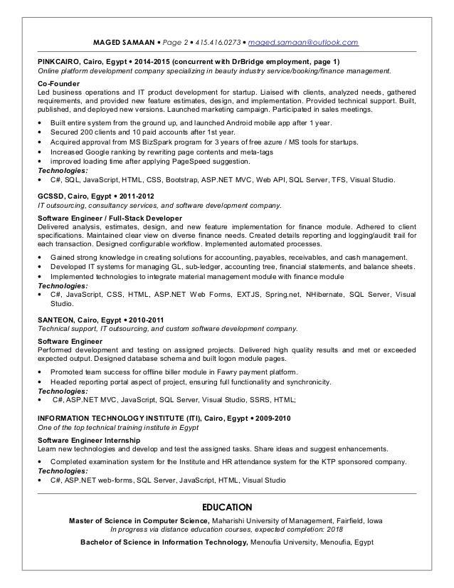 Maged Samaan - Sr. Fullstack .NET Developer CV
