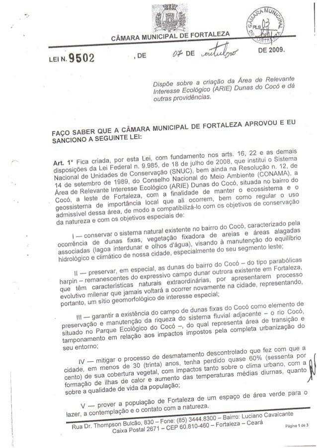 Texto integral da Lei 9502/09 - Arie das Dunas do Cocó