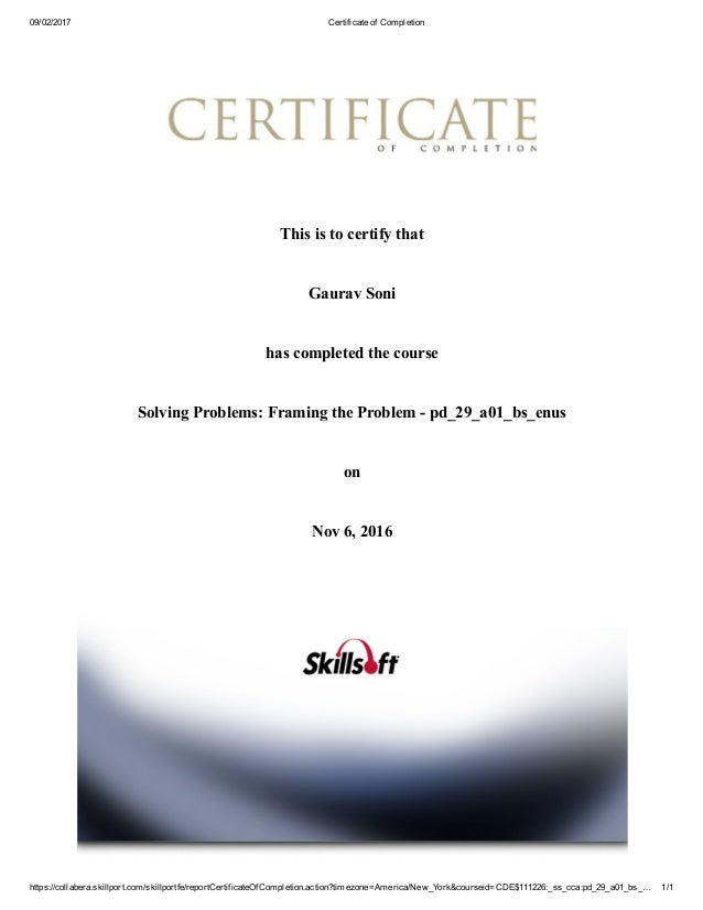 Certificate Of Completion Solving Problems Framing The Problem