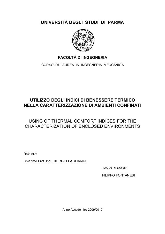 UNIVERSITÀ DEGLI STUDI DI PARMA                    FACOLTÀ DI INGEGNERIA            CORSO DI LAUREA IN INGEGNERIA MECCANIC...
