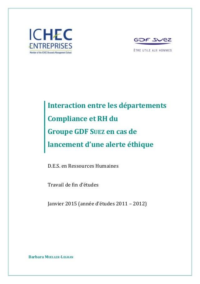 Interaction entre les départements Compliance et RH du Groupe GDF SUEZ en cas de lancement d'une alerte éthique D.E.S. en ...