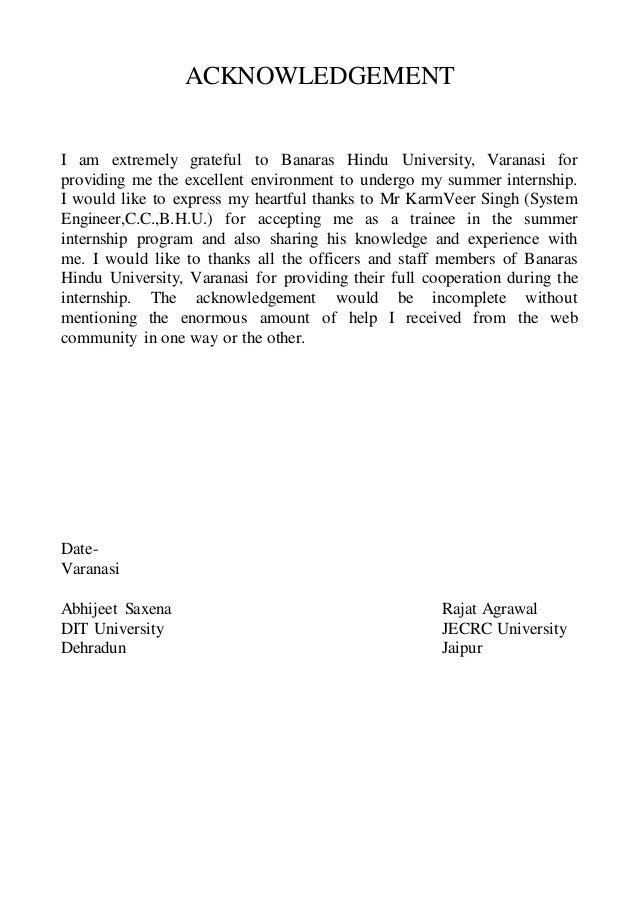 ACKNOWLEDGEMENT I am extremely grateful to Banaras Hindu University, Varanasi for providing me the excellent environment t...