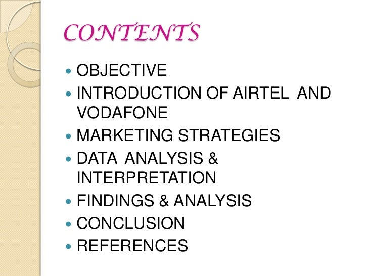"""comparative study of marketing mix of vodafone and airtel Brand positioning - airtel and vodafone • what marketing strategies the airtel is   comparison of marketing strategy a project report on """"comparative analysis of."""