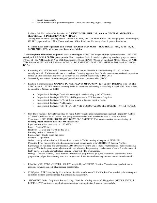Resume Superintendent Head Electrical