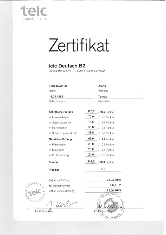 Alyona Tanaseychuk_ B2 Deutsch TELC Zertifikat
