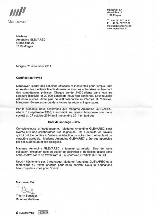 Exemple De Certificat De Travail Suisse - Le Meilleur Exemple