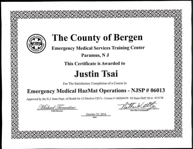 Justin G Tsai EMS HazMat Operations Cert
