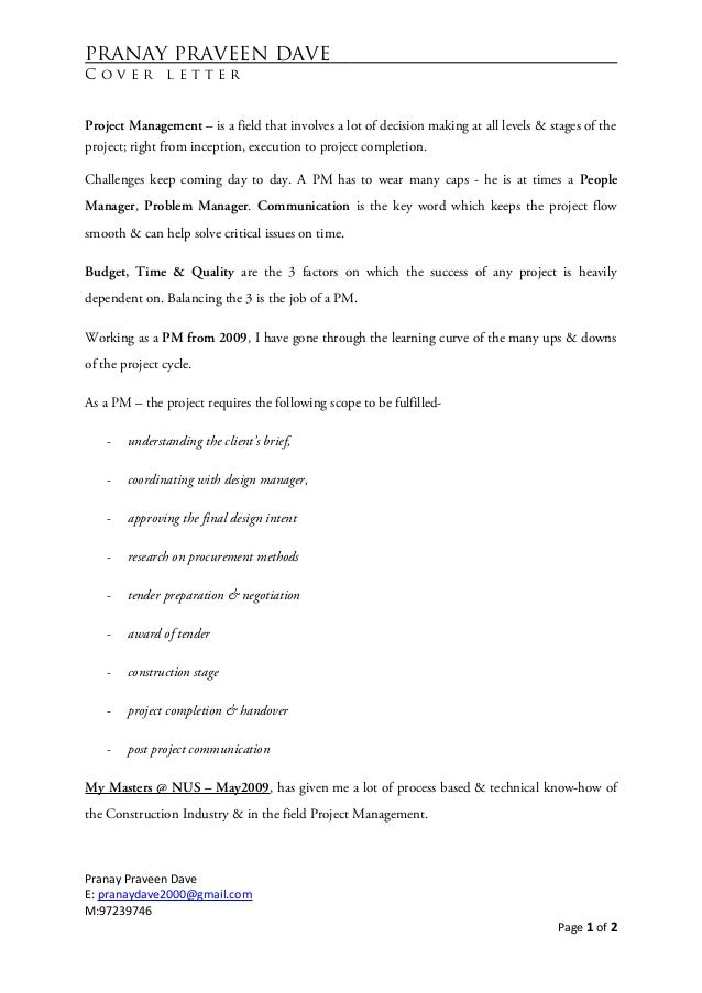 Pranay praveen dave cover letter 201214 pranay praveen dave c o v e r l e t t e r project management is a field that involves a lot of altavistaventures Choice Image