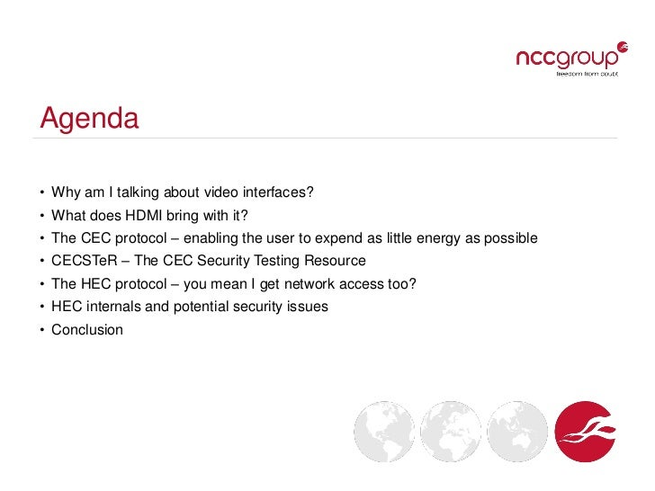 What the HEC? Security implications of HDMI Ethernet Channel and other related protocols - 44CON 2012 Slide 3