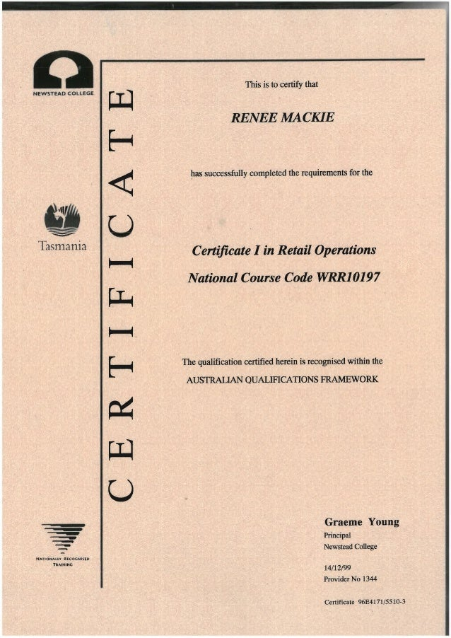 Certificate I In Retail Operations Pdf