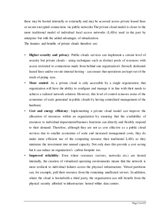 Page 5 of 67 these may be hosted internally or externally and may be accessed across private leased lines or secure encryp...