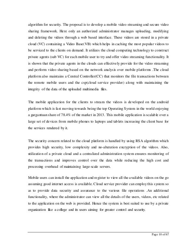 Page 10 of 67 algorithm for security. The proposal is to develop a mobile video streaming and secure video sharing framewo...