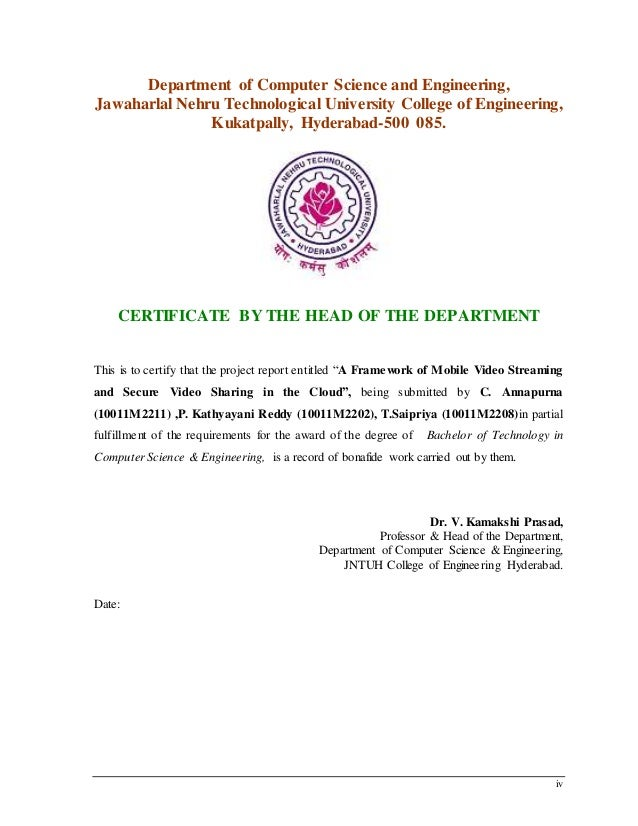 iv Department of Computer Science and Engineering, Jawaharlal Nehru Technological University College of Engineering, Kukat...