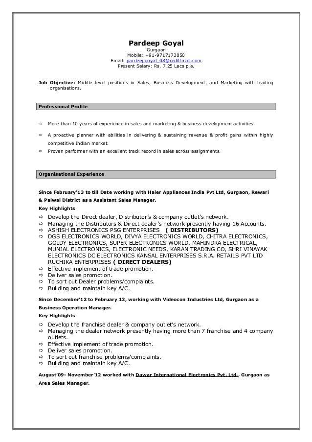 Pardeep Goyal Gurgaon Mobile: +91-9717173050 Email: pardeepgoyal_08@rediffmail.com Present Salary: Rs. 7.25 Lacs p.a. Job ...