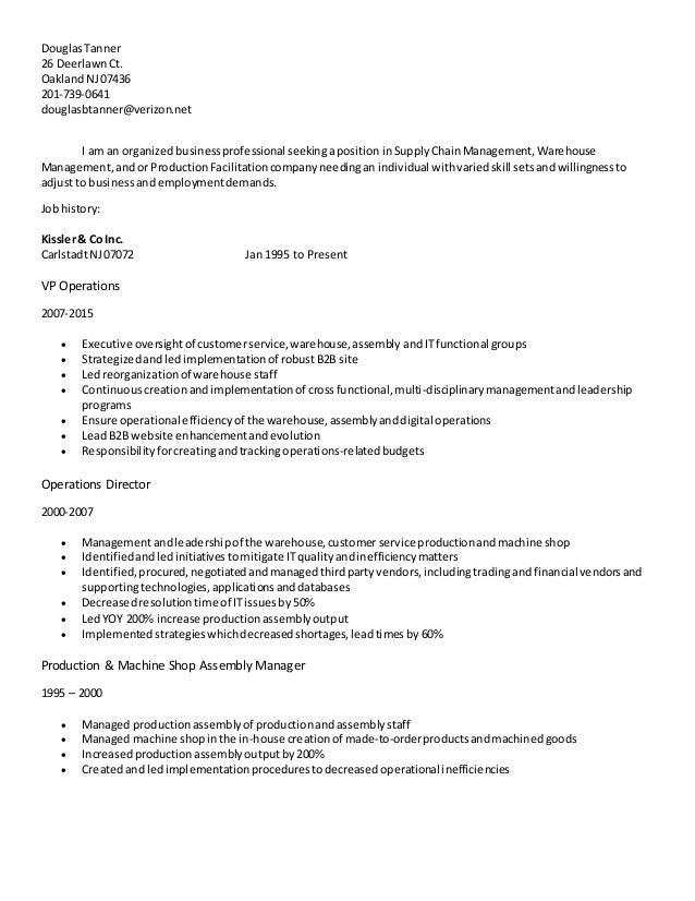 DouglasTanner 26 DeerlawnCt. OaklandNJ07436 201-739-0641 douglasbtanner@verizon.net I am an organizedbusinessprofessional ...