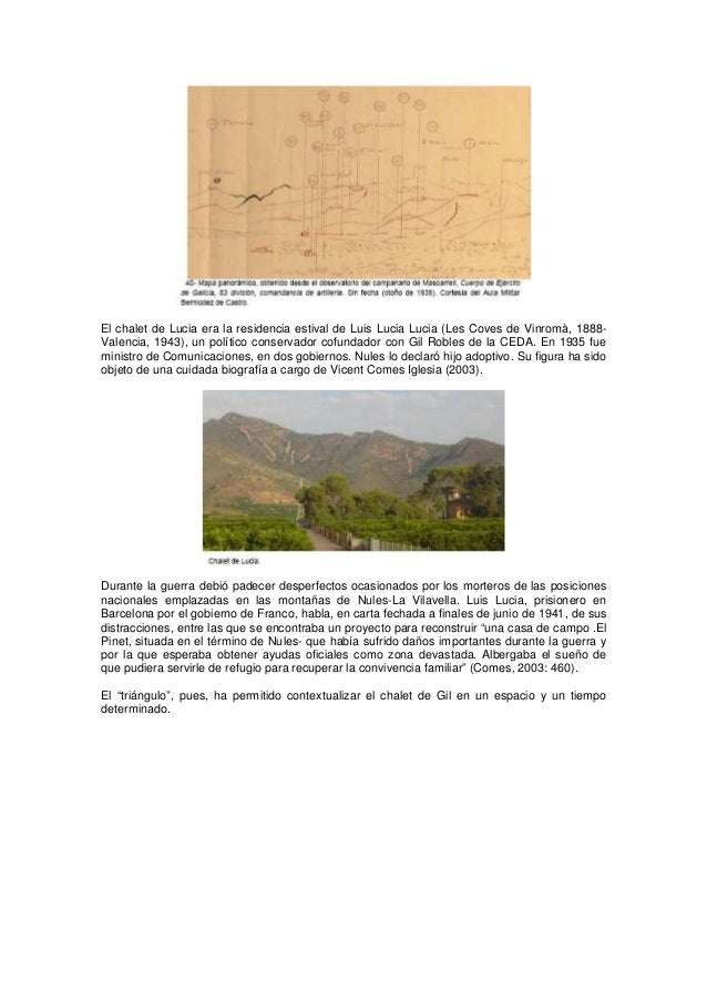 El chalet de Lucia era la residencia estival de Luis Lucia Lucia (Les Coves de Vinromà, 1888Valencia, 1943), un político c...