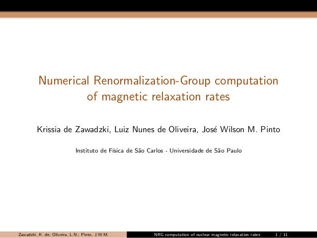 Numerical Renormalization-Group computation  of magnetic relaxation rates  Krissia de Zawadzki, Luiz Nunes de Oliveira, Jo...