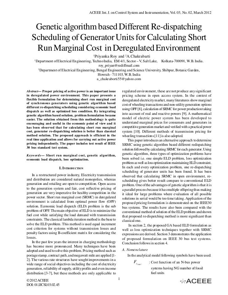 ACEEE Int. J. on Control System and Instrumentation, Vol. 03, No. 02, March 2012    Genetic algorithm based Different Re-d...