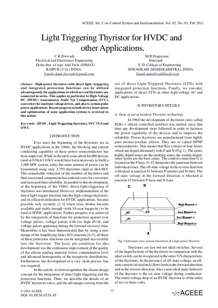 ACEEE Int. J. on Control System and Instrumentation, Vol. 02, No. 01, Feb 2011               Light Triggering Thyristor fo...