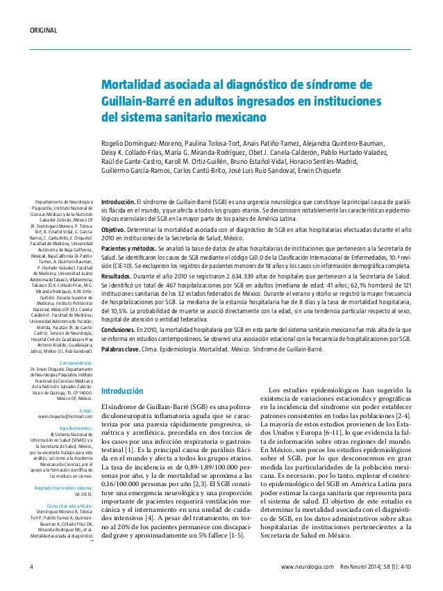 ORIGINAL  Mortalidad asociada al diagnóstico de síndrome de Guillain-Barré en adultos ingresados en instituciones del sist...