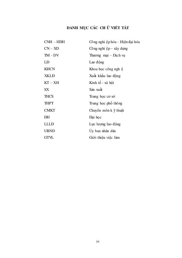 DANH MỤC CÁC CH Ữ VIẾT TẮT CNH – HĐH Công nghi ệp hóa – Hiệnđại hóa CN – XD Công nghi ệp – xây dựng TM - DV Thương mại – D...