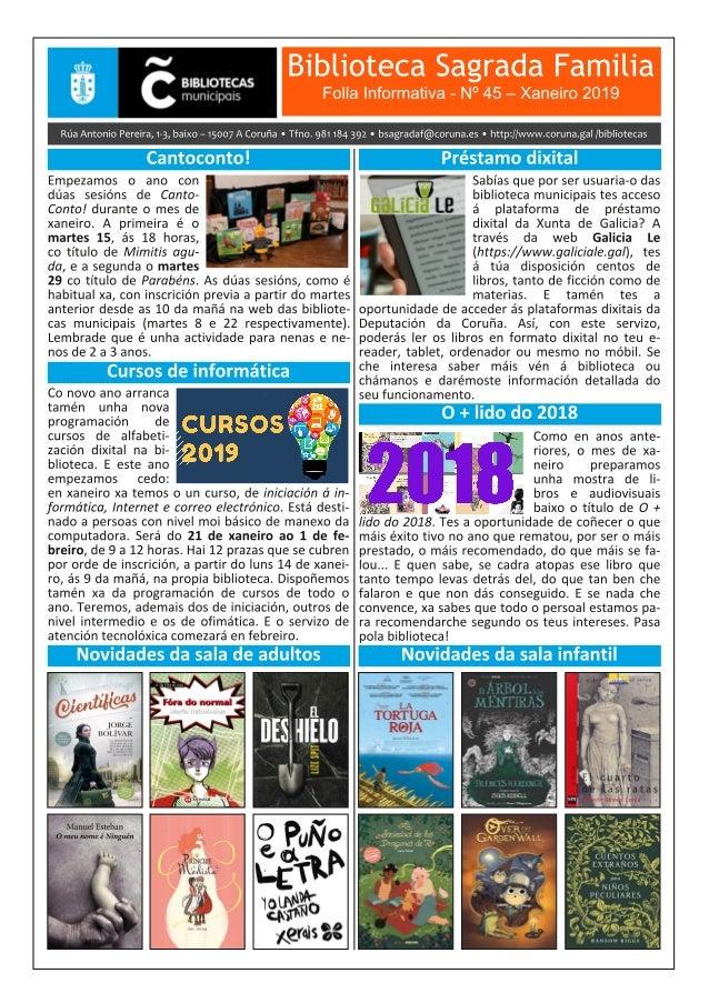 Boletín Informativo de xaneiro 2019 da Biblioteca Sagrada Familia da Coruña