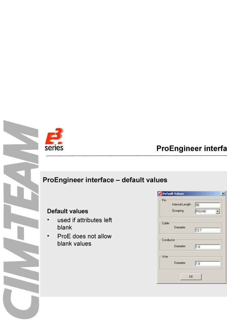 ProEngineer interface menu <ul><li>ProEngineer interface – default values </li></ul><ul><li>Default values </li></ul><ul><...