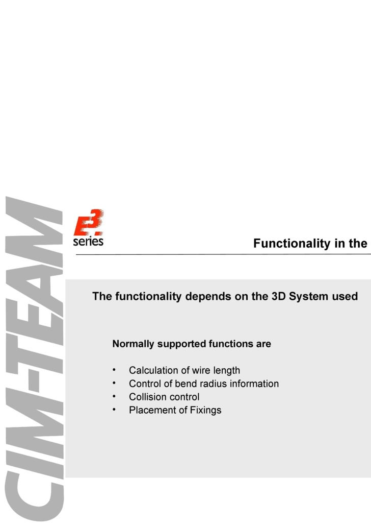 Functionality in the 3D-System <ul><ul><li>The functionality depends on the 3D System used </li></ul></ul><ul><li>Normally...