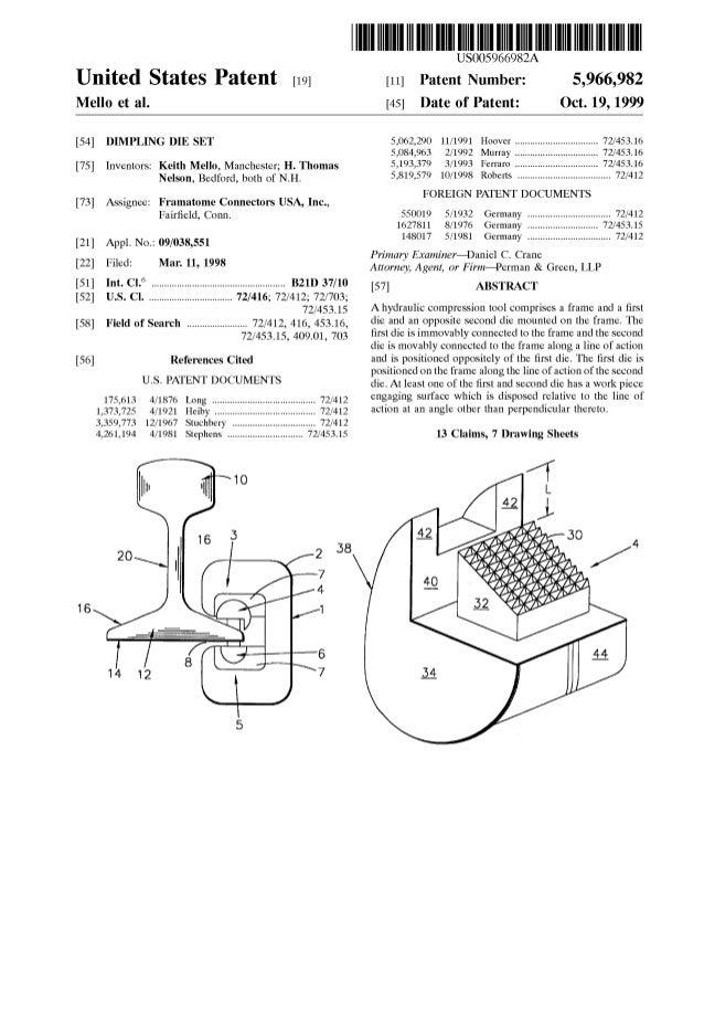 United States Patent [19J Mello et al. [54] DIMPLING DIE SET [75] Inventors: Keith Mello, Manchester; H. Thomas Nelson, Be...